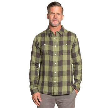 Men's Button Downs - Road House Checks Long Sleeve 2 Pocket Shirt In Green By True Grit - FINAL SALE