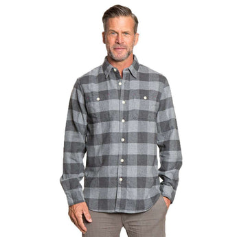 Men's Button Downs - Roadtrip Plaid Long Sleeve 2 Pocket Shirt In Charcoal Grey By True Grit - FINAL SALE