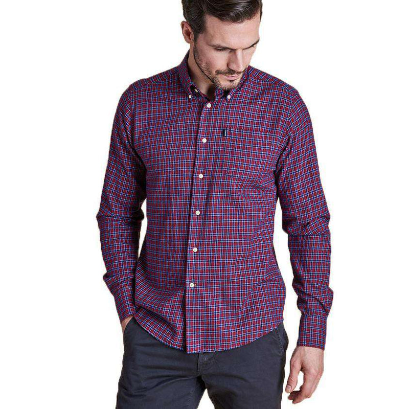 Men's Button Downs - Rory Tailored Fit Button Down In Rich Red By Barbour