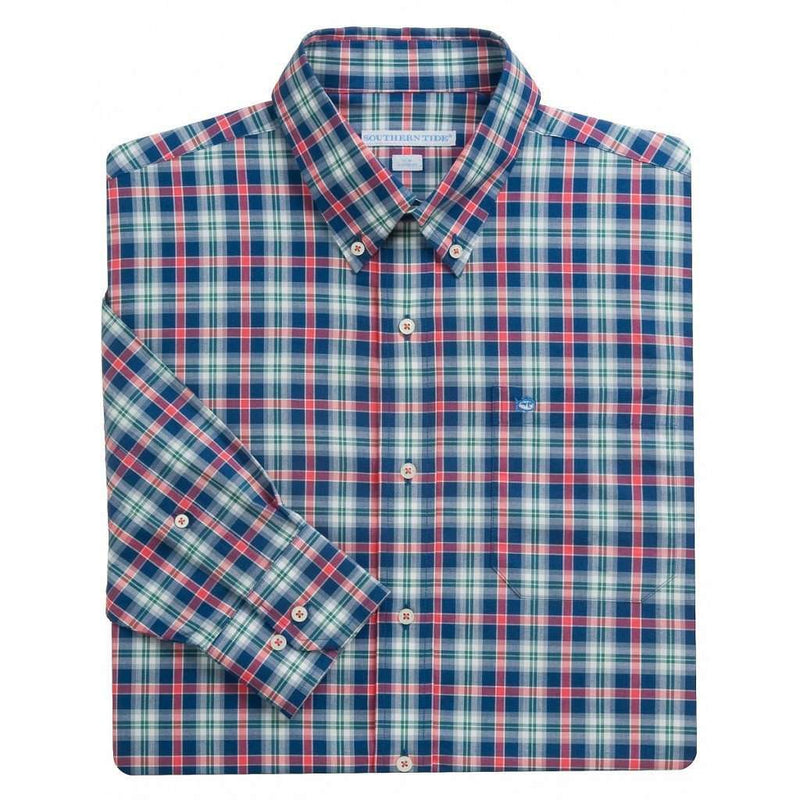 Men's Button Downs - Savannah Plaid Classic Fit Sport Shirt In River Street By Southern Tide