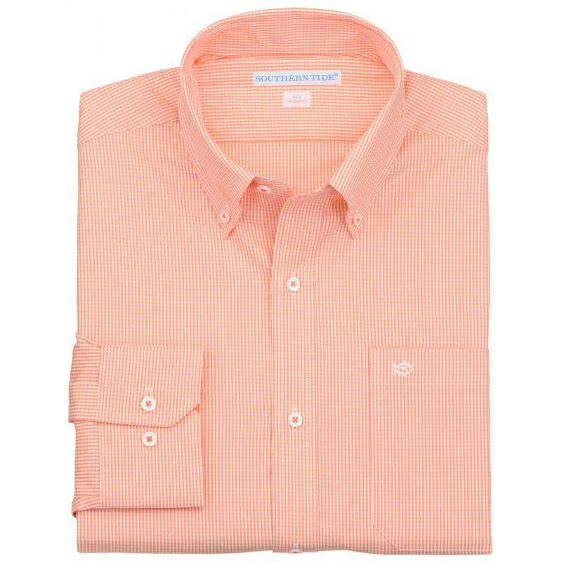 Men's Button Downs - Sea Island Check Classic Fit Sport Shirt In Coral Beach By Southern Tide