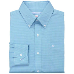 Men's Button Downs - Sea Island Check Classic Fit Sport Shirt In Tidal Wave By Southern Tide