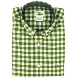 488d654b3 Men s Button Downs - Short Sleeve Classic Gingham Woven Button Down By  Lacoste - FINAL SALE