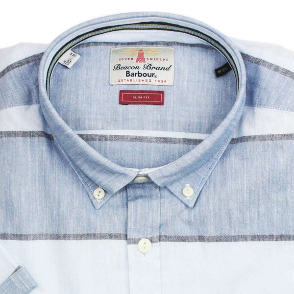 Short Sleeve Slim Fit Button Down in Chambray by Barbour