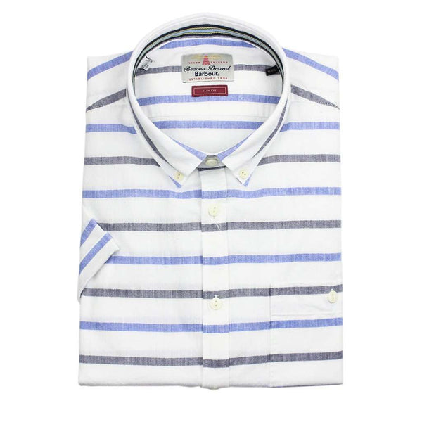 Men's Button Downs - Short Sleeve Slim Fit Button Down In Whisper White By Barbour - FINAL SALE