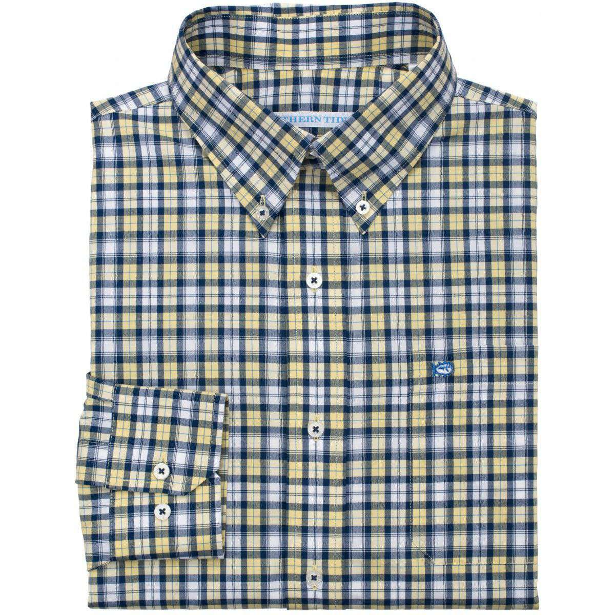 Men's Button Downs - Sonar Plaid Classic Fit Sport Shirt In Sunshine By Southern Tide