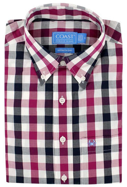 Men's Button Downs - Sport Shirt In Gingham Granita By Coast - FINAL SALE