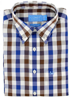 Men's Button Downs - Sport Shirt In Gingham Monaco By Coast - FINAL SALE