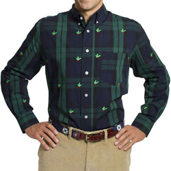Men's Button Downs - Straight Wharf Button Down In Blackwatch With Holly Berries By Castaway Clothing - FINAL SALE