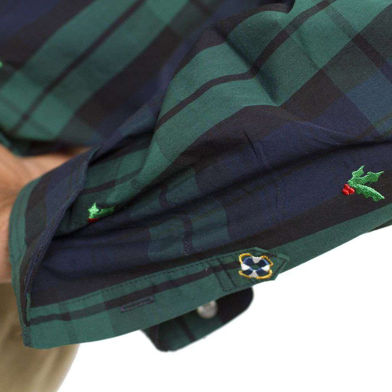 Straight Wharf Button Down in Blackwatch with Holly Berries by Castaway Clothing - FINAL SALE