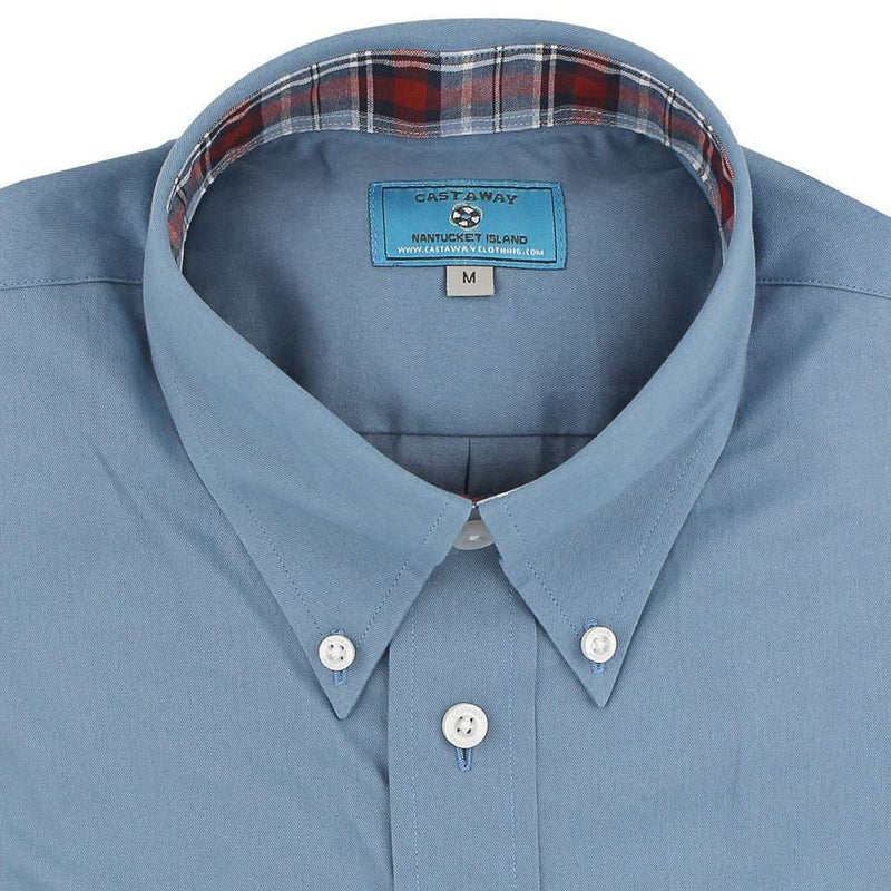 Straight Wharf Button Down in Chino Slate Blue with Harvest Plaid Trim by Castaway Clothing - FINAL SALE