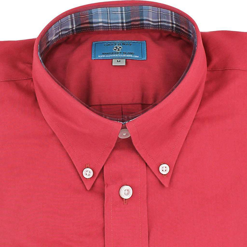 Straight Wharf Button Down in Chino Weathered Red with Harvest Plaid Trim by Castaway Clothing - FINAL SALE