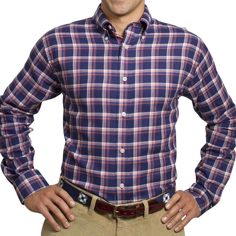 Men's Button Downs - Straight Wharf Button Down In Plaid Nantucket Navy By Castaway Clothing - FINAL SALE