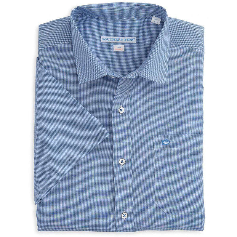 Tailored Short Sleeve Cast Off Check Sport Shirt in Over Sea Blue by Southern Tide