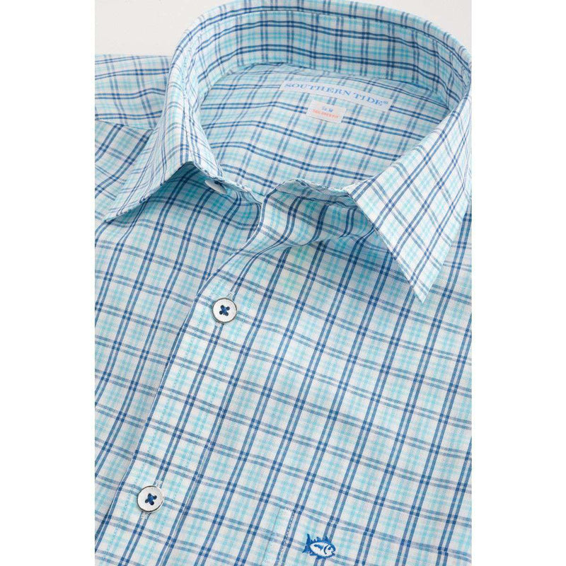 Tailored Short Sleeve GPS Plaid Sport Shirt in Crystal Blue by Southern Tide