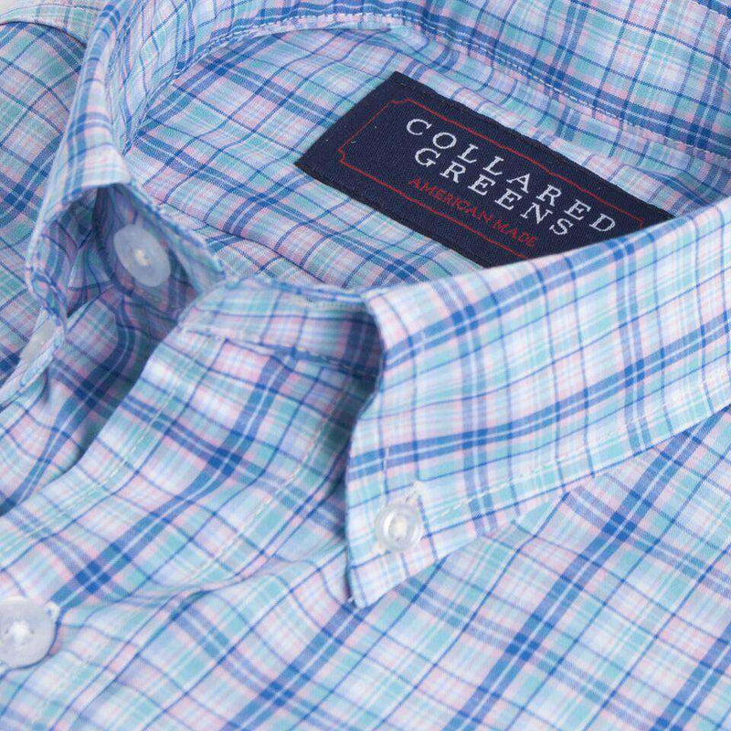 The Ashe Button Down in Blue, Teal and Pink by Collared Greens