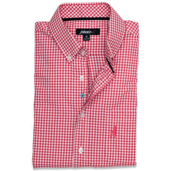 Men's Button Downs - The Berner Button-Down In Samba Red By Johnnie-O