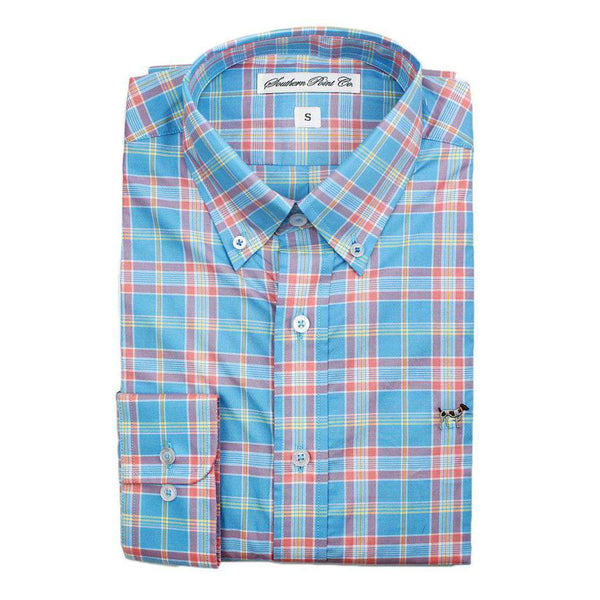 Men's Button Downs - The Hadley Shirt In Easter Blue Plaid By Southern Point Co. - FINAL SALE