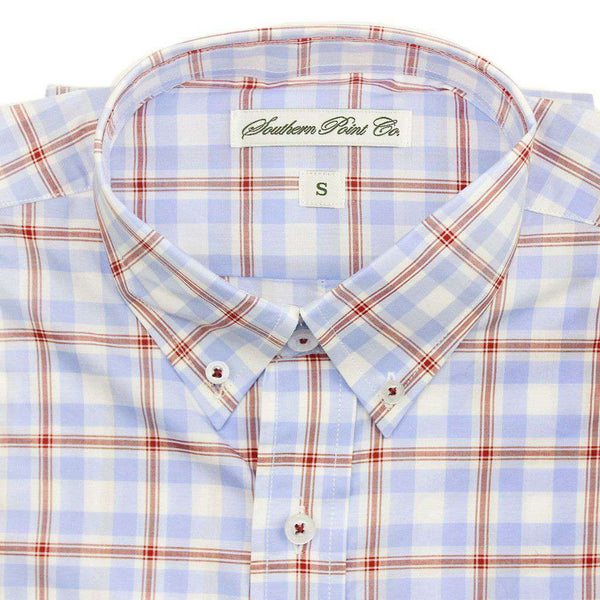 Men's Button Downs - The Hadley Shirt In Sky Blue Plaid By Southern Point Co.