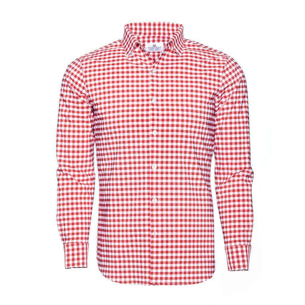 Mizzen and main the hatteras checked dress shirt in red for Men s red gingham dress shirt