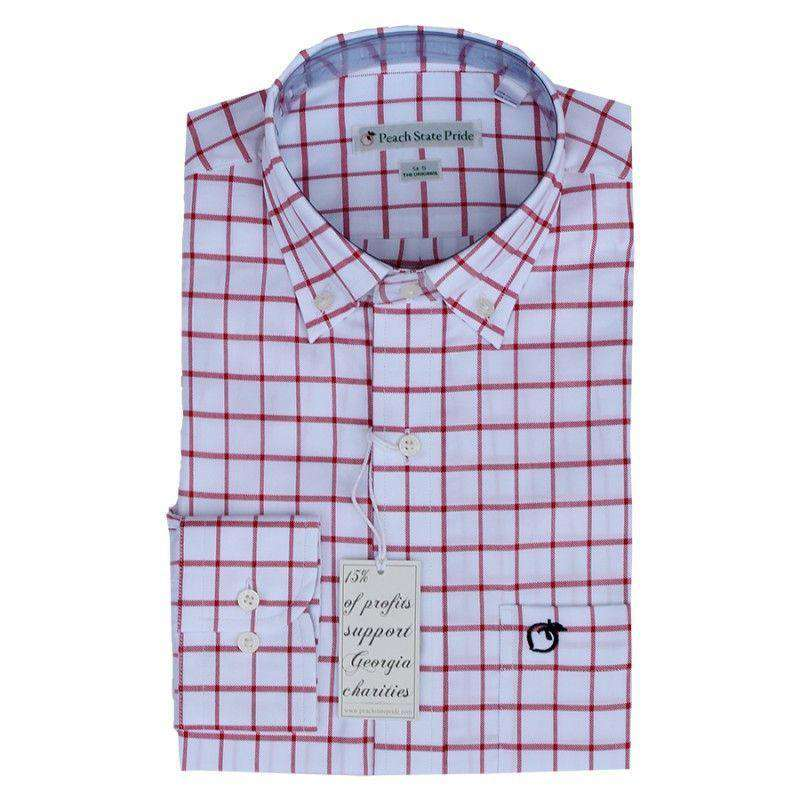 Men's Button Downs - The Hedges Button Down In White & Red By Peach State Pride