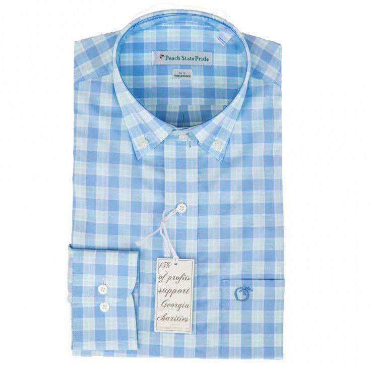 Men's Button Downs - The Oconee Button Down In Blue & Green By Peach State Pride