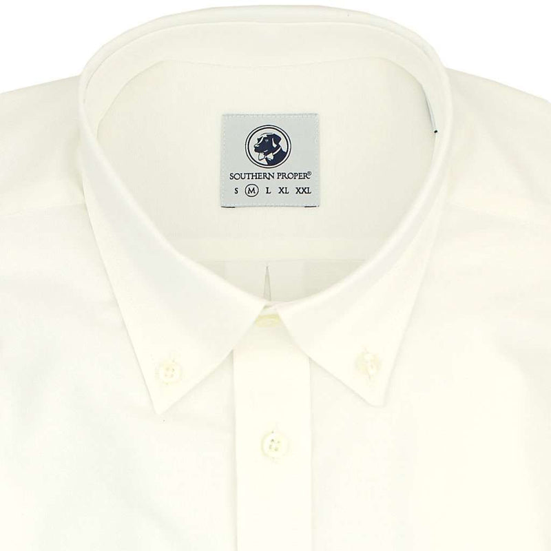 Men's Button Downs - The Proper Oxford Shirt In White With Shacker Sack By Southern Proper