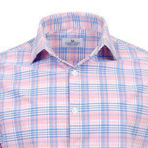 "Men's Button Downs - The ""Savannah"" Button Down In Pink And Blue Plaid By Mizzen + Main"