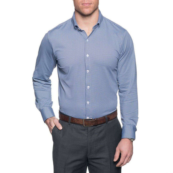 Men's Button Downs - The Spread Collar Gingham Dress Shirt In Beckett Blue By Mizzen+Main