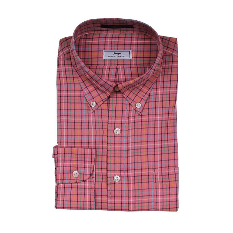 Men's Button Downs - The Yates Button Down In Coral Check By Country Club Prep