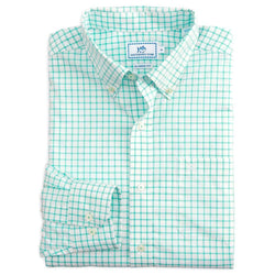Men's Button Downs - Tradewind Tattersall Sport Shirt In Offshore Green By Southern Tide
