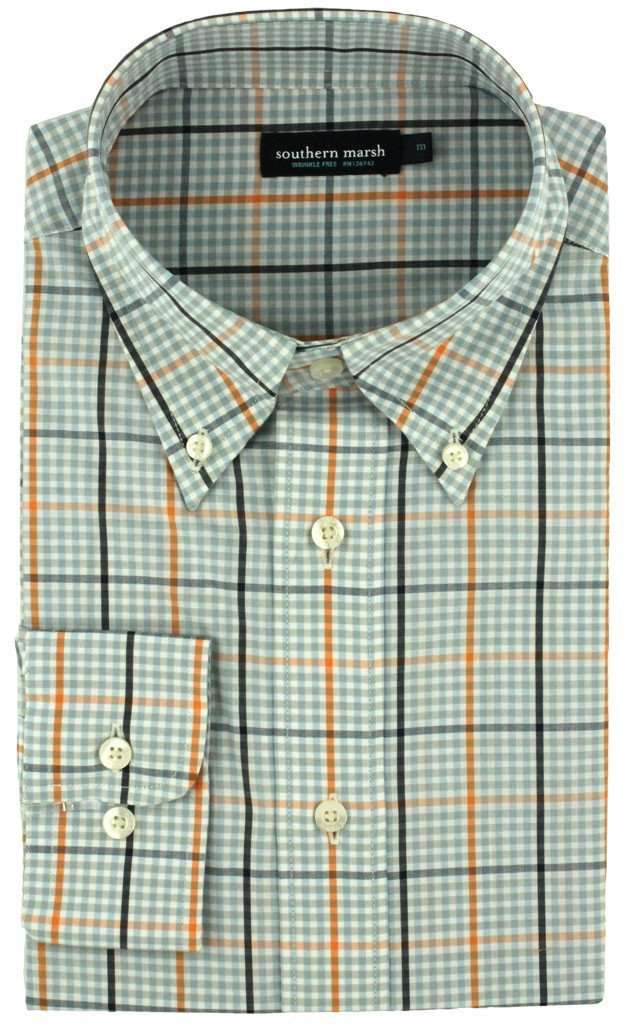 Men's Button Downs - Upperline Grid In Navy And Orange By Southern Marsh