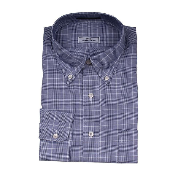 Men's Button Downs - Window Pane Button Down In Blue And White By Country Club Prep