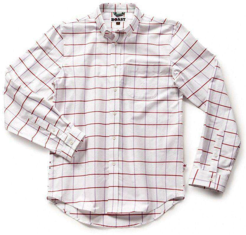 Men's Button Downs - Woven Button Down Shirt In Purple And Red Plaid By Boast