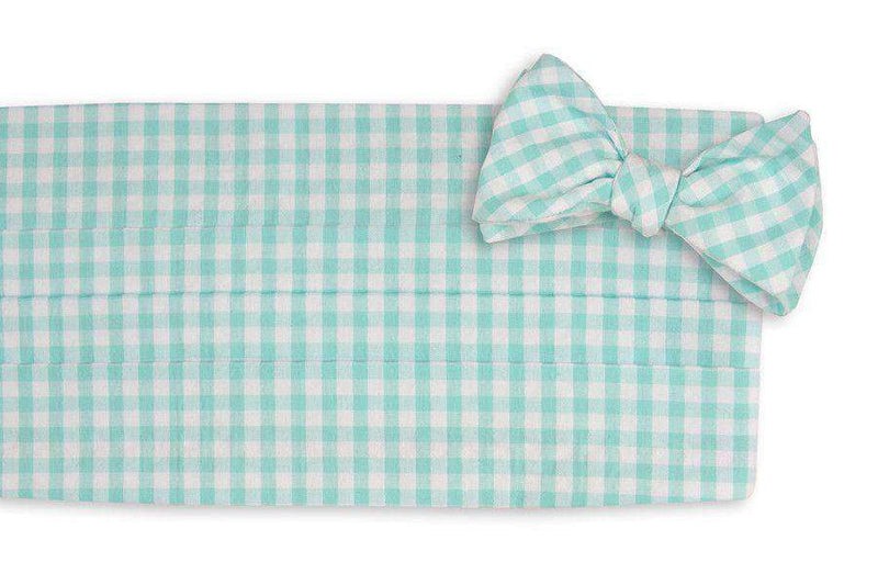 Men's Cummerbunds & Braces - Aqua Seersucker Check Cummerbund Set By High Cotton