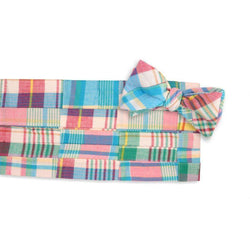 Men's Cummerbunds & Braces - Boardwalk Patchwork Madras Cummerbund Set By High Cotton