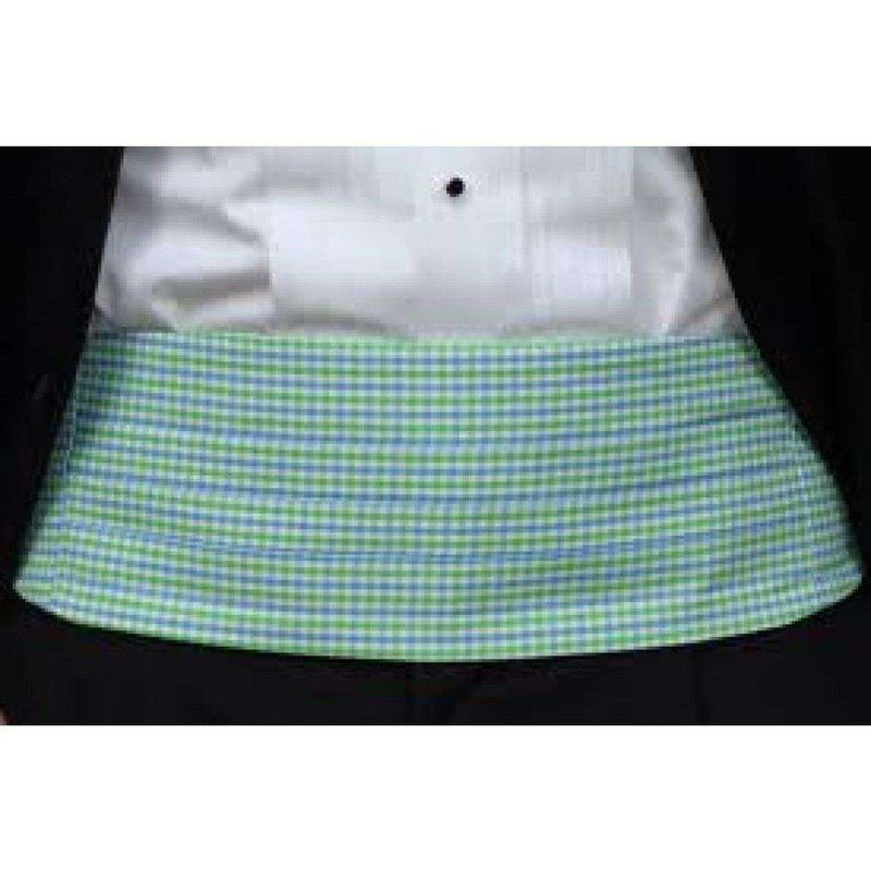 Men's Cummerbunds & Braces - Cornflower And Mint Tattersall Cummerbund Set By High Cotton