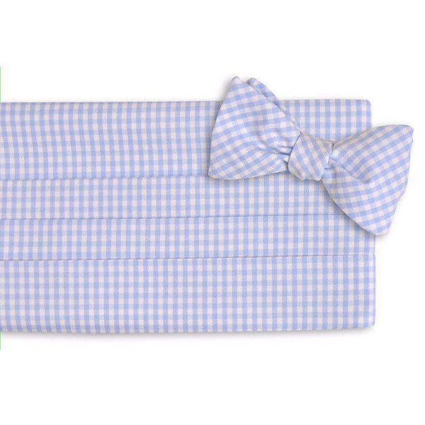 Men's Cummerbunds & Braces - Gingham Cummerbund Set In Carolina Blue By High Cotton