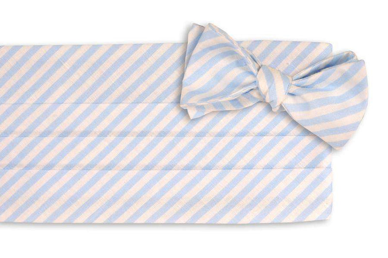 Men's Cummerbunds & Braces - Light Blue Linen Stripe Cummerbund Set By High Cotton