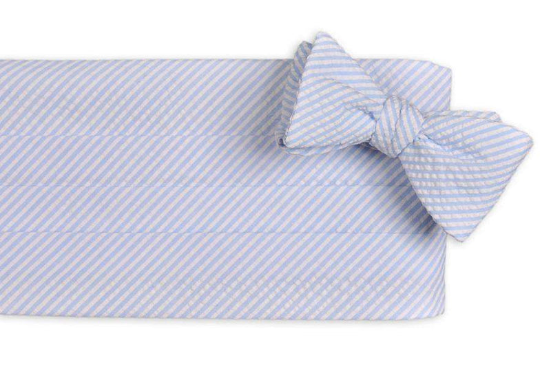 Men's Cummerbunds & Braces - Light Blue Seersucker Cummerbund Set By High Cotton
