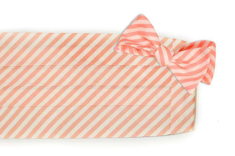 Men's Cummerbunds & Braces - Melon Linen Stripe Cummerbund Set By High Cotton