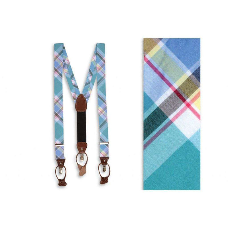Men's Cummerbunds & Braces - Mint Julep Madras Suspenders/ Brace By High Cotton