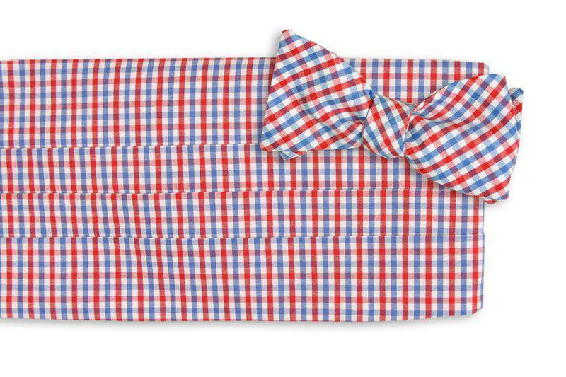 Men's Cummerbunds & Braces - Red And Old Blue Tattersall Cummerbund Set By High Cotton