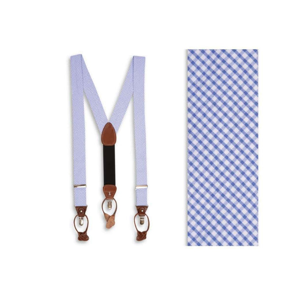 Men's Cummerbunds & Braces - Seersucker Gingham Suspenders/ Braces In Royal Blue By High Cotton