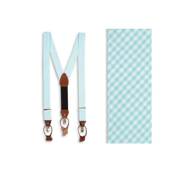 Men's Cummerbunds & Braces - Seersucker Gingham Suspenders/ Braces In Seafoam By High Cotton - FINAL SALE