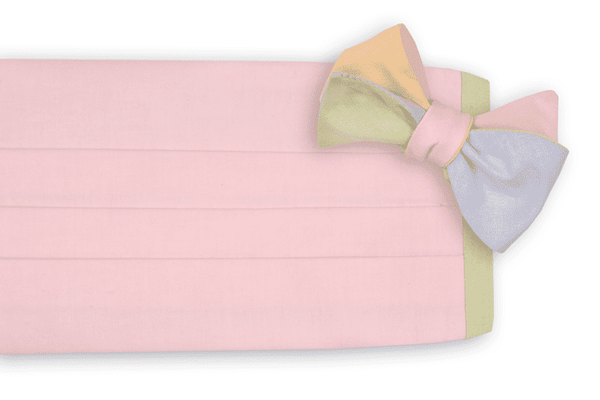 Men's Cummerbunds & Braces - Spring Chambray Four Way Cummerbund Set With Pink Front By High Cotton