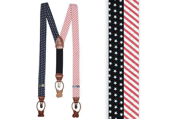 Men's Cummerbunds & Braces - Stars & Stripes Suspenders/ Braces By High Cotton - FINAL SALE