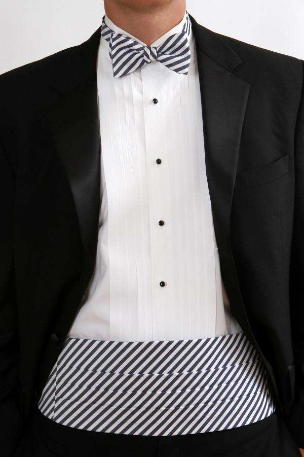 Men's Cummerbunds & Braces - True Navy Stripe Cummerbund Set By High Cotton