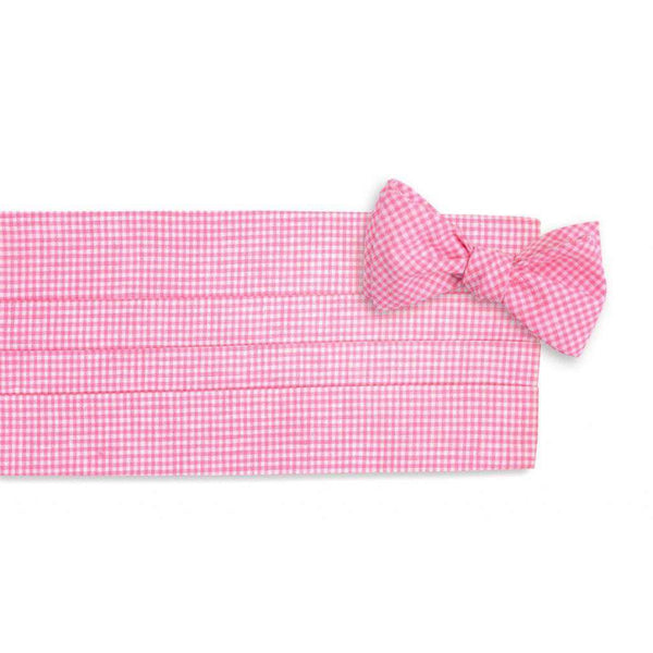 Men's Cummerbunds & Braces - Watermelon Linen Gingham Cummerbund Set By High Cotton