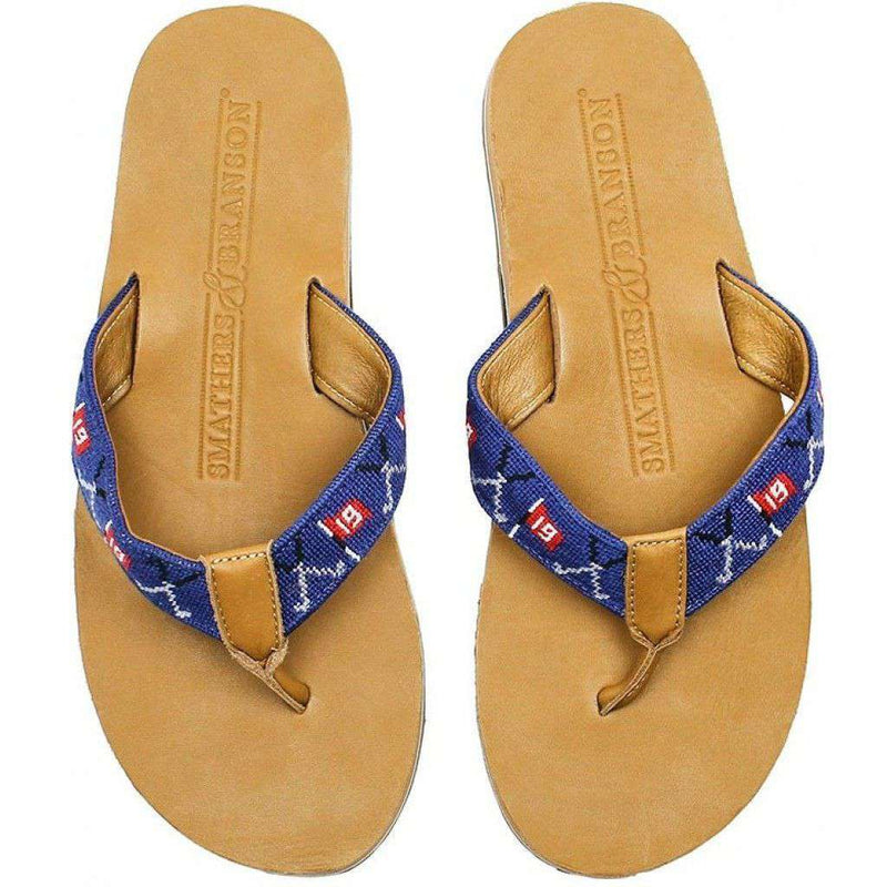 Men's 19th Hole Needle Point Flip Flops in Navy by Smathers & Branson